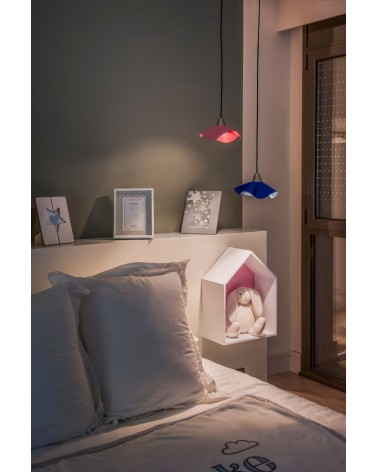 HELGA LED Pink leather pendant lamp, Faro Barcelona