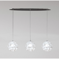 M_5145 Mantra 5145 Organica Pendant 3 Light E27 Line, Gloss White/Polished Chrome